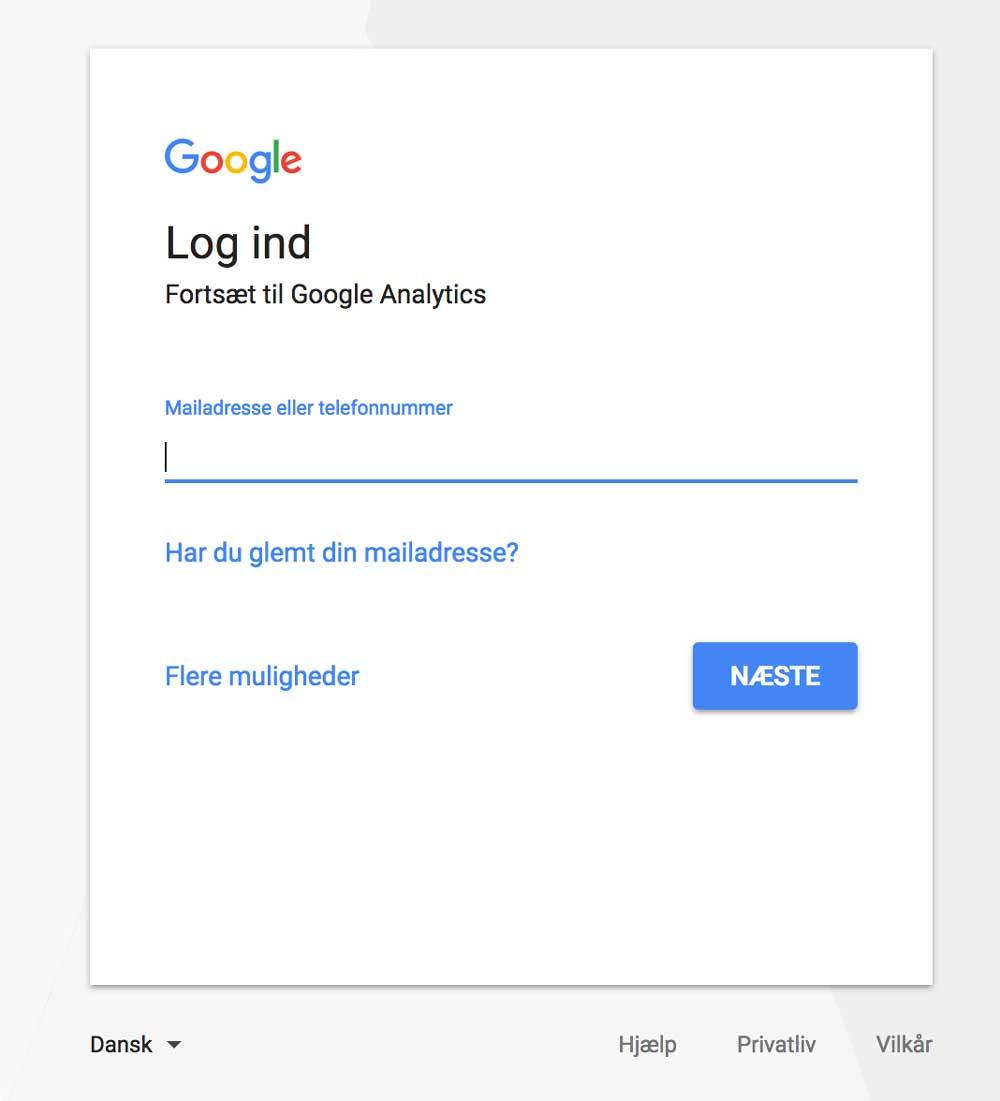 aa054157 For at oprette en Google Analytics konto skal du gå til www.analytics.google.com  og logge ind med din google konto.